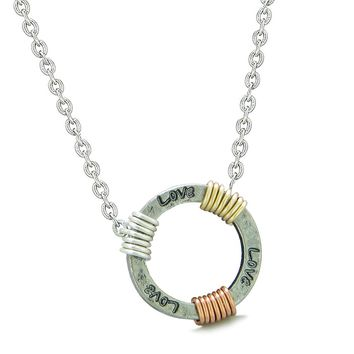 Inspirational Love Ring Rose-Yellow-Gold-Silver-Tone Tri Color Amulet Pendant 18 Inch Necklace