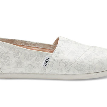 TOMS Ivory Silver Floral Jacquard Women's Classics Silver