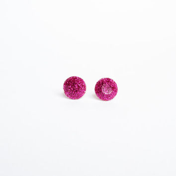 RASPBERRY GLITTER STUD Earrings. Shining party fucsia studs