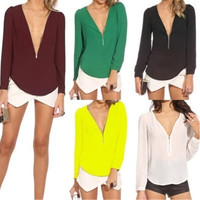 Fashion European Style Sexy V-neck Zipper Women Shirt Casual Chiffon Long Sleeved Blouse Tops [8805183111]
