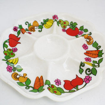 Vintage Tray 7 Section Serving Platter Mid Century Serving Dish Retro Appetizer Dish Vegetable Tray Serving Tray Retro Kitchen