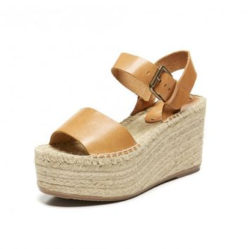 Soludos Minorca High Platform Sandal in Nude Leather - Soludos Espadrilles