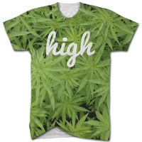 High marijuana all over print t shirt