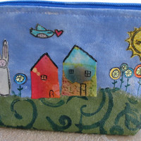 Collage, Mixed Media Pouch, Canvas Pencil Case, Make Up Bag, Happy Little Scene Bag