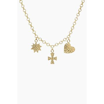 The Hammered Charm Necklace - Gold