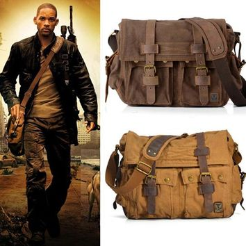 I AM LEGEND Will Smith military canvas + Genuine leather Men messenger bag canvas shoulder bag men Crossbody Bag Casual Bag 2016