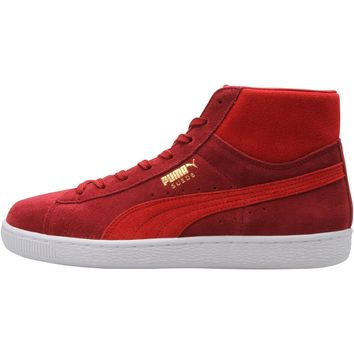 puma suede mid classic rio red high risk red white  number 1