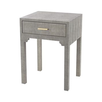 Sands Point Accent Side Table With Drawer Grey Faux Shagreen