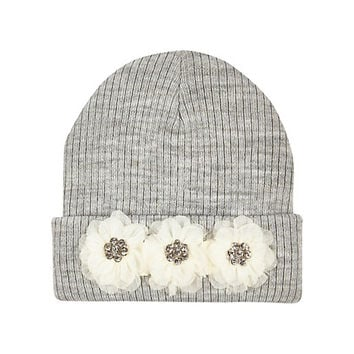 River Island Girls grey chiffon flower beanie