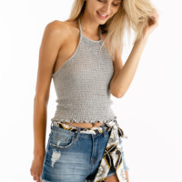 Cutting Corners Crop Tank in Gray
