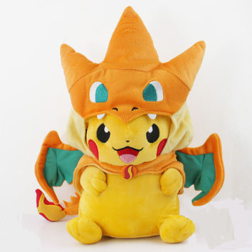 2 styles Pokemon Pikachu Cosplay Charmander Plush Toys