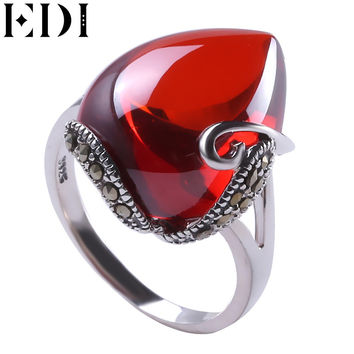 EDI 925 Silver Ring Natural Red Garnet Gemstone Rings for women Heartstone Ruby Opal Wedding Rings Fine Jewelry