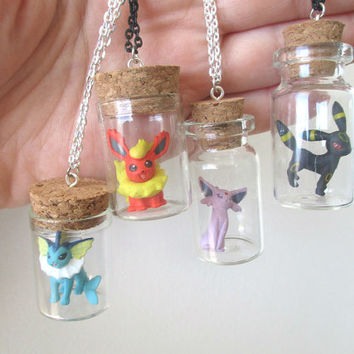 Pokémon Necklaces - ESPEON, UMBREON, VAPOREON & Flareon - Toys in a Bottle - Pokemon Go, Team Valor Team Mystic, Team Instinct