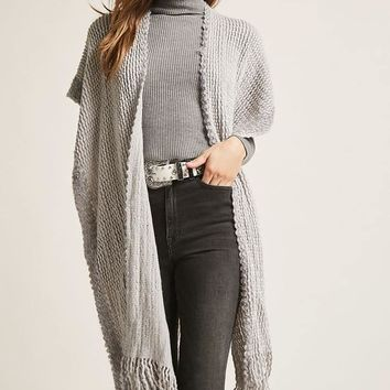 Open-Front Purl-Knit Poncho