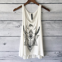 Cow Skull Tank Top - Women's Boho, Buffalo Desert, Flower White Shirt, Graphic Printed Cow Skull Tank. Sizes S,M,L