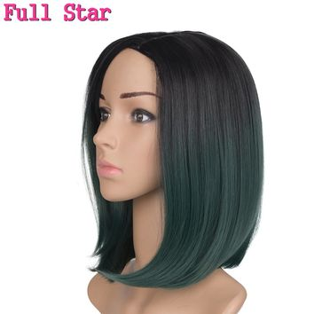 "12"" Synthetic Wigs Full Star Straight Short Wigs Green for Black Women Synthetic 160g Ombre purple Brown Bug color hair"