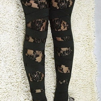 Rose Bound Leggings  LC7844 Cheap price Drop Shipping (Size: M, Color: Black)