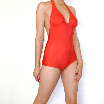 Vtg orange swimsuit Retro swimwear Orange leotard Body 90s Bodysuit Spandex Aerobics Vintage beach wear