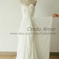 Strapless Sweetheart Chiffon Ruffle Wedding Dress Bridesmaid Dress Prom Dress