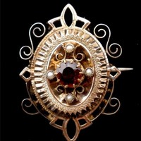 Victorian 10K Yellow Gold Red Garnet Brooch 1800's Mine Cut Pearl Jewelry Pin