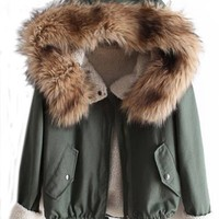 Sheinside Women's Green Faux Fur Hooded Long Sleeve Drawstring Coat, Green, One size