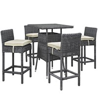 Summon 5 Piece Outdoor Patio Sunbrella® Pub Set Antique Canvas Beige EEI-1971-
