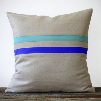 Bright Striped Pillow (16x16) - Cobalt Blue and Turquoise - Colorful Home Decor by JillianReneDecor