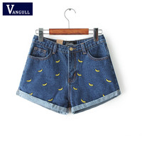 Women Summer Banana Flower Embroidery Cotton Denim Shorts