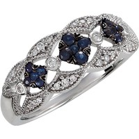 Sterling Silver Genuine Blue Sapphire & 1/10 CTW Diamond Ring