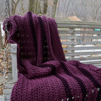 Best Hand Crochet Afghan Products On Wanelo Mesmerizing Eggplant Throw Blanket