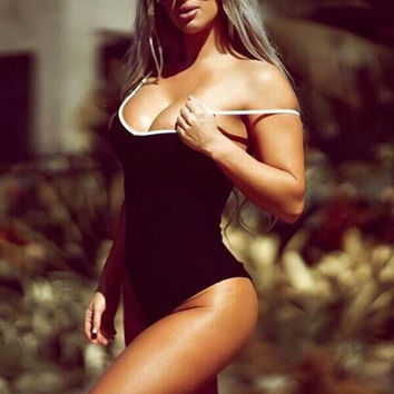 CUTE STRAPS BLACK ONE PIECE BIKINI
