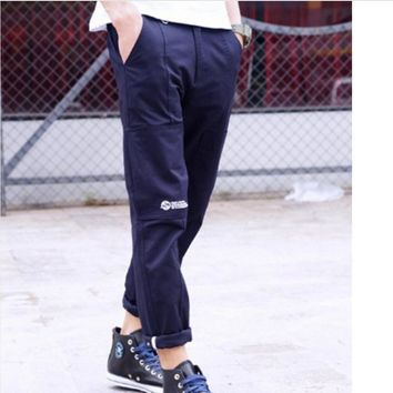 New tide brand men solid color overalls trousers pants sub English trousers casual pants male Blue
