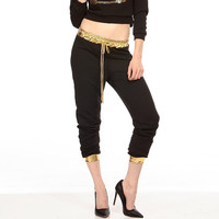 Black Plaid with Gold Elastic Waist Pants