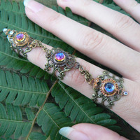 Bermuda blue triple ring Steampunk ring claw ring goth ring  Victorian ring