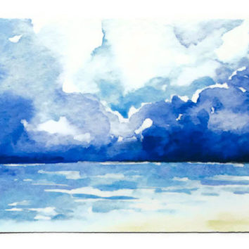 Stormy Seascape Watercolor Painting ACEO
