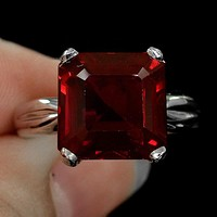 A Natural 14K White Gold 11.8CT Asscher Cut Red Ruby Engagement Ring