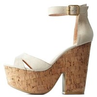 Natural Two-Piece Chunky Platform Heels by Charlotte Russe