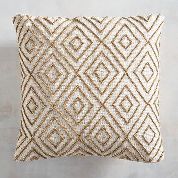 Beaded Diamond Natural Mini Pillow
