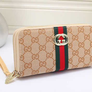 Gucci Women Leather Double Zipper Purse Wallet