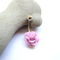 Purple Rose Belly Ring, Non Dangle Belly Button Jewelry Flower Bellybutton Ring