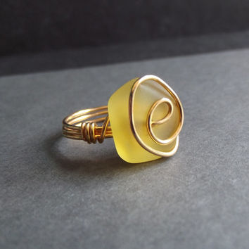 Yellow Sea Glass Ring:  24K Gold Swirl Wire Wrapped Lemon Beach Jewelry, Size 6