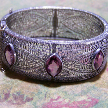 Art Deco Rhodium Filigree Hinged Bangle Bracelet, Amethyst Glass Stone, Vintage Bridal Bracelet, Wedding Jewelry 1117