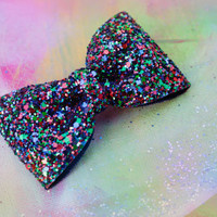 Parrot Blue Purple Red and Green Mix Glitter Hair Bow Sparkly Cute Kawaii Glitter Bow