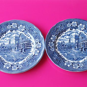 Vintage Royal Tudor Ware  - Coaching Taverns 1828 - set of 2 blue side plates - Made in Staffordshire / England