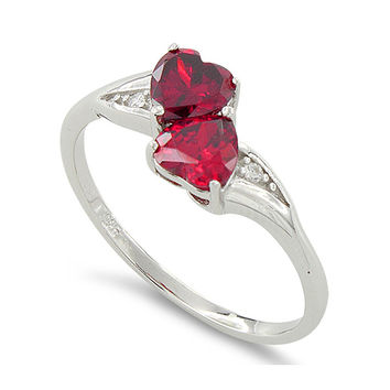 Sterling Silver Simulated Ruby Double Heart Ring
