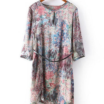 Abstract Print Half Sleeve Shift Mini Dress