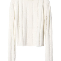 T by Alexander Wang Slashed Merino Wool Crop Pullover - INTERMIX