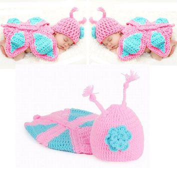Romantic Sweet Newborn Girls Butterfly Handmade Knitted Pink Photography Props Flower Hats Baby Suit