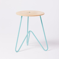 Low Stool: Ash Wood on Seafoam Powdercoated Metail.  Modern, Design.