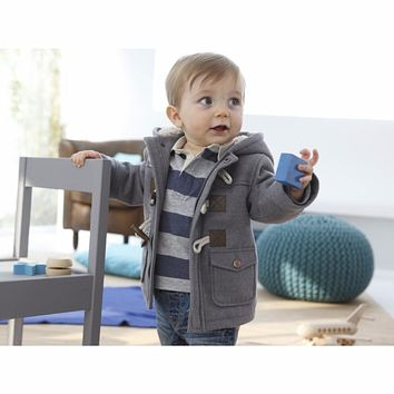Boy Hooded Infant Jacket Winter Woollen Coats Thickened Masked Childs Horn Buckle Child Coat Baby Girl Clothes Cardigan Fleece